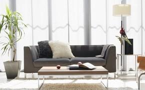 Картинка стол, комната, диван, гостиная