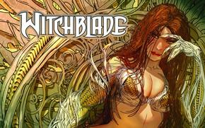 Картинка girl, fantasy, cleavage, breast, comics, redhead, artwork, fantasy art, Witchblade, chest, fantasy girl, Michael Turner, ...
