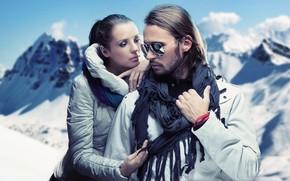Картинка зима, взгляд, девушка, стиль, модель, макияж, шарф, очки, мужчина, двое, fashion, мода, куртки, Konrad Bak