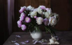 Картинка цветы, стол, букет, ракушка, ваза, розовые, белые, натюрморт, пионы, композиция