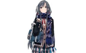 Картинка шарф, белый фон, школьница, сумка, кофта, брелок, длинные волосы, art, юбка в клетку, Yukinoshita Yukino