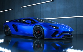 Картинка Авто, Синий, Lamborghini, Машина, Car, Суперкар, Aventador, Lamborghini Aventador, Supercar, Спорткар, Transport & Vehicles, Ryan ...