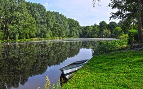 Картинка лето, вода, деревья, река, берег, лодка