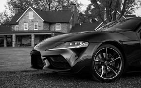Картинка чёрный, купе, Toyota, Supra, передняя часть, пятое поколение, mk5, двухместное, 2020, 2019, GR Supra, A90, …