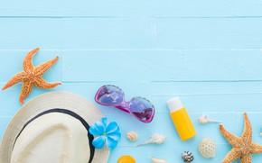 Картинка пляж, лето, доски, звезда, шляпа, очки, ракушки, summer, beach, wood, starfish, seashells