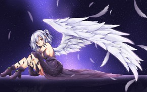 Картинка девушка, ангел, перья, touhou, kishin sagume, akiteru98