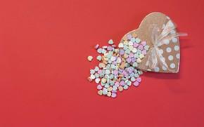 Картинка любовь, фон, коробка, подарок, сердце, бант, Valentine's Day
