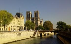 Картинка река, Франция, Париж, остров, Сена, Собор Парижской Богоматери, Сите