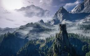 Картинка пейзаж, горы, ёлки, Ведьмак 3: Дикая Охота