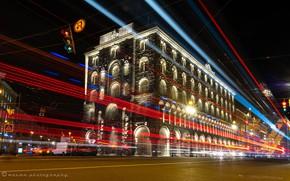 Картинка свет, здание, Санкт-Петербург, Россия, ночной город, Невский проспект