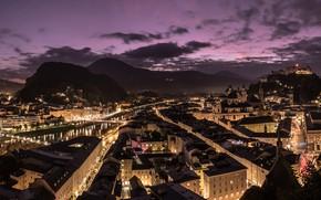 Картинка ночь, город, Salzburg, golden city