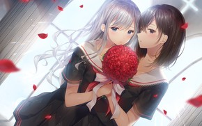 Картинка девочки, розы, букет
