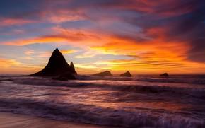 Картинка sea, coast, sunset, rocks, shore, tide