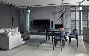 Картинка дизайн, стиль, интерьер, гостиная, Poland, столовая, by The Baltic, Baltic Sea - Blue Apartment, The …