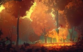 Картинка сияние, волшебство, желтые листья, art, невесомость, в парке, золотая осень, девушка с собакой, солнечный денек, …