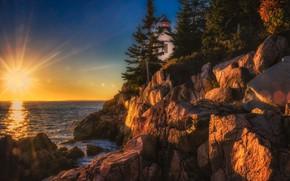 Картинка закат, океан, скалы, маяк, Maine, Мэн, Acadia National Park, Национальный парк Акадия, Bass Harbor Head …