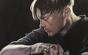 Картинка нож, профиль, парень, Атака Титанов, Shingeki No Kyojin, Леви Аккерман, by redwarrior3