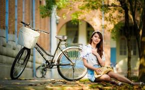 Картинка лето, девушка, велосипед, азиатка