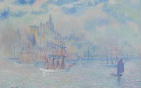 Картинка пейзаж, картина, Theodore Earl Butler, 1907, Теодор Батлер, Корабли в нью-йоркской Гавани