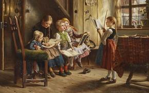Картинка German painter, немецкий живописец, Иоганн Вильгельм Шютце, Johann Wilhelm Schütze, Kinderschule, Вильгельм Шютце, Wilhelm Schütze, …