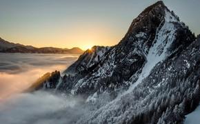 Картинка Солнце, Облака, Гора, Лес, Лучи, Склоны