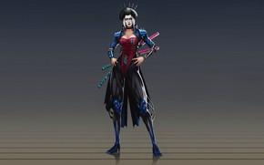 Картинка Art, Asian, Samurai, Katana, Characters, Geisha, Cyber, Kazbek Dzasezhev