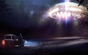 Картинка НЛО, Ночь, Человек, Лес, Fantasy, Арт, Art, Космический Корабль, Фантастика, Concept Art, UFO, Spaceship, Vehicles, …