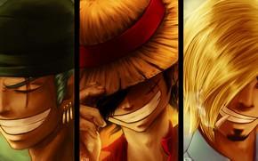 Картинка коллаж, парни, One Piece, улыбки