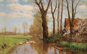 Картинка Walter Moras, немецкий живописец, German landscape painter, Вальтер Морас, oil on canvas, Magnificent spring landscape …