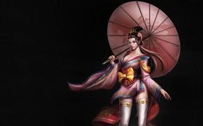 Картинка Girl, Beautiful, Art, Style, Umbrella, Fiction, Characters, Dress, Figure, Three Kingdoms, An Hua, Xiao Qiao