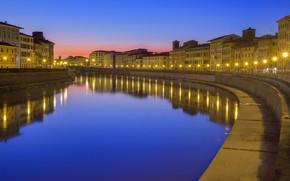 Картинка огни, река, Италия, Пиза, Арно