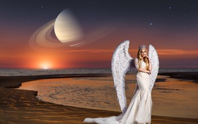 Обои море, девушка, закат, поза, стиль, планета, крылья, ангел, Сатурн, корона, платье, Ренат Хисматулин