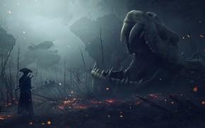 Картинка череп, скелет, Vladimir Manyukhin, Here live dragons, Здесь живут драконы