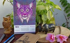 Картинка стол, растения, календарь, статуэтки, CALENDAR 2019 - LOSING WILDLIFE