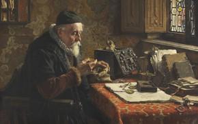 Картинка German painter, немецкий живописец, oil on canvas, Der Münzsammler, Макс Гайссер, Max Gaisser, 1900 - …