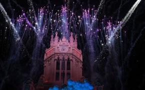 Картинка праздник, фейерверк, Испания, Мадрид, Palacio de Comunicaciones
