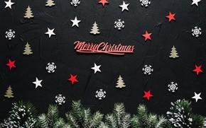 Картинка фон, праздник, черный, Stars, ёлки, звездочки, декор, Merry christmas