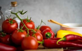 Картинка желтый, красный, стол, посуда, перец, острый, овощи, томаты, боке, болгарский, паприка