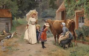 Картинка 1908, французский живописец, French painter, Посещение фермы, Emile Dameron, Visit to the farm, Эмиль Дамерон, …