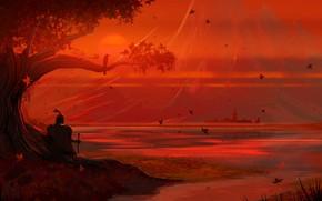 Картинка Закат, Солнце, Вечер, Дерево, Осень, Озеро, Листья, Замок, Берег, Арт, Art, Tree, Sun, Sunset, Рыцарь, …