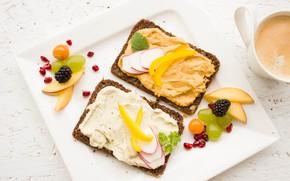 Картинка ягоды, виноград, перец, ежевика, бутерброды