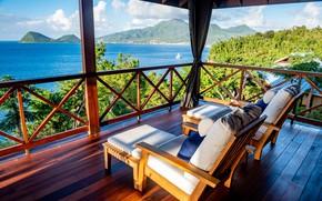 Картинка море, горы, кресла, балкон, отель, Карибы, Доминика