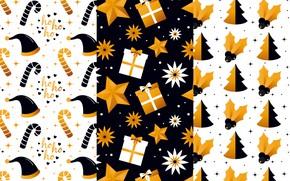 Картинка зима, белый, фон, черный, игрушки, текстура, подарки, золотой
