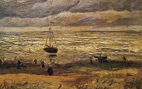 Картинка корабль, Винсент ван Гог, View of the Sea, at Scheveningen