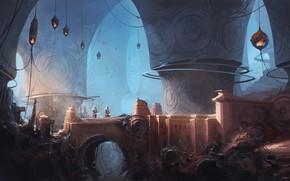 Картинка сооружение, фонари, воины, свод, Dungeons