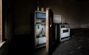 Картинка холодильник, кухня, плита