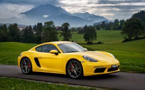 Картинка дорога, облака, деревья, горы, Желтый, Трава, Porsche, Порш, Порше, Газон, Porsche Cayman