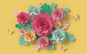 Картинка цветы, желтый, бумага, фон