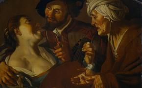 Картинка масло, картина, холст, Dirck van Baburen, Дирк ван Бабюрен, 1725, Сваха