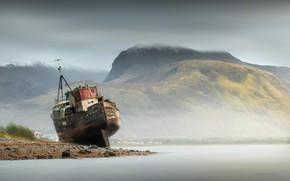 Картинка горы, камни, побережье, корабль, Шотландия, залив, мель